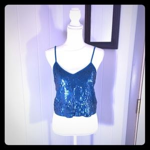 Teal Blue Sequined Express Cropped Top